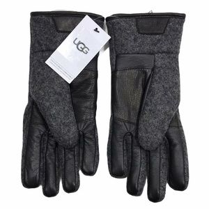 UGG Touchscreen Gloves Charcoal Wool Blend Leather